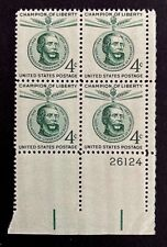US Stamps, Scott #1117 Lajos Kossuth Issue 1958 4c Plate Block XF/Superb M/NH