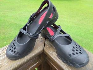 Skechers Mary Jane Flat slip on Black Rubber Shoes Womens  9