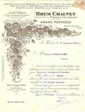 Ancienne Facture RHUM CHAUVET COMPAGNIE DES ANTILLES LE HAVRE 1924