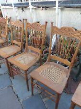 Larkin Pressed Back Wooden chairs six Country Oak Victorian Art Neovou