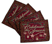 Celebrate the Season Placemats Set of 4 Hemmed Woven Made in USA by Simply Home
