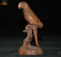 Old Chinese boxwood wood Hand Carved Fengshui parrot Bird Lucky Statue