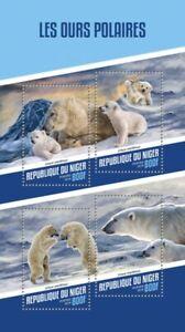 Niger Wild Animals Stamps 2018 MNH Polar Bears Bear Mammals Fauna 4v M/S