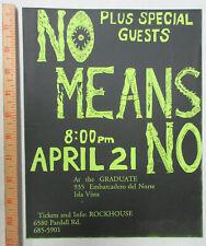 No Means No The Graduate Isla Vista CA 1988 PUNK Concert FLYER NoMeansNo