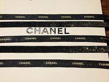 Chanel Glittered Black & Metallic Gold Lettering Ribbon - 1 Yard / 3 Feet Long