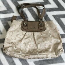 COACH ASHLEY BROWN GOLD SATEEN TOTE SATCHEL SHOULDER PURSE HAND BAG