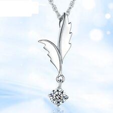 925 Silber Schutzengel AAA Zirkon Glücksbringer Ketten Anhänger Flügel Kristall