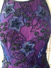 Cache Navy Purple Pink Beaded Halter Gown Slits X-back S Column