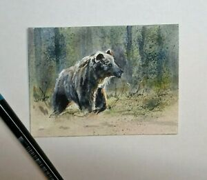 Original, Not A Print, ACEO watercolour miniature, signed. Bear. Collectable art