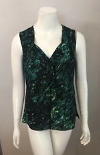 T Tahari Green Black Ruffle Front Splatter Print Sleeveless Top Size S