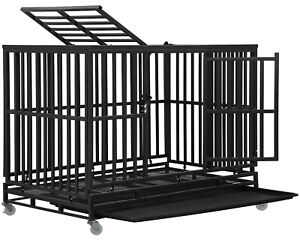 Dog Crate Dog Cage Dog Kennel  for Large Medium Dogs Heavy Duty 48 Inches Pet