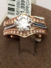 Solitaire Enhancer Jacket Diamonds Ring Guard Wrap 10k Gold Rose Wedding Band