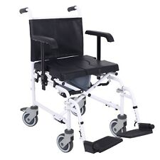 Mobile wheeled shower commode chair wheelchair with brakes and pot ECSCOMTR