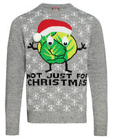 Fun and Festive Style Adults Sprouts 'Not Just for Christmas' Grey Marl Jumper