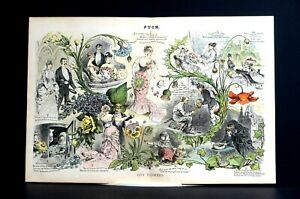 City Flowers 1886 GRIEF WEDDINGS ROMANCE WREATHS JAIL OPERA BRIDES SICKNESS Puck