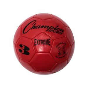 Champion Sports Extreme Soft Touch Butyl Bladder Soccer Game Ball, Size 3, Red