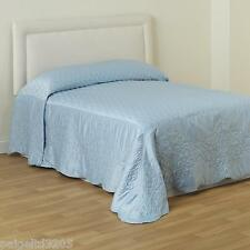 Cannon Luxurious Satin Fabric Quilted Carston QUEEN Bedspread Bed Spread - Blue