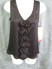 Anthropologie Lapis Top Size Medium Black Satin Ruffled / Purple Knit Back NWT