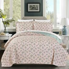3-Piece REVERSIBLE Floral Garden Vintage Washed 100%-Cotton Quilt Set King