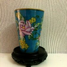 Vintage Chinese Cloisonne Porcelain Vase  Hand Painted  Lovely Details & Colours