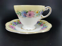 Vintage EB Foley Fine Bone China England CORNFLOWER Tea Cup & Saucer Set YELLOW