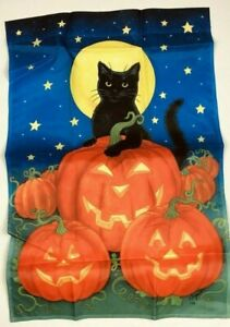 Vintage Toland Halloween Black Cat 24 x 34 Pumpkin Patch Moon Stars