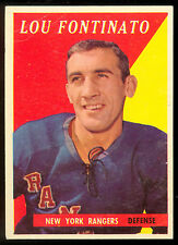 1958 59 TOPPS HOCKEY #41 LOU FONTINATO VG-EX N Y NEW YORK RANGERS CARD