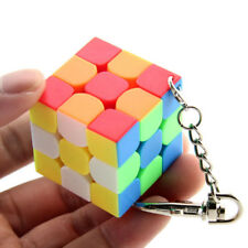 Mini Keychain Lock Rubik's Cube 3x3x3 Magic Speed Cube 35mm Stickerless Twist