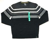 NWT DKNY Men's Crew Neck Cotton Long Sleeve Sweater Black, Size XL