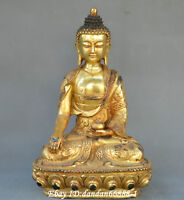 "11""Collect Chinese Tibet Buddhism old Bronze carve Gilt Sakyamuni Buddha Statue"