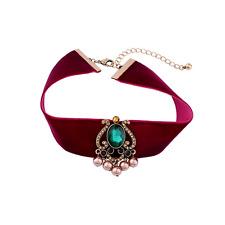Terciopelo Choker Cinta De Gótico Collar rojo vino verde Adorno traje Cadena