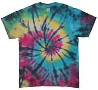 TIE DYE T SHIRT Rainbow Tye Die Tshirt Top Tee Festival Fashion Grunge Black
