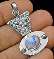 Natural Rainbow Moonstone 925 Solid Sterling Silver Pendant Jewelry ED28-1