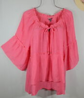 New Women's Pink  Ruffle Boho Tunic Peasant Top Blouse Shirt 1X NWT
