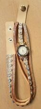 Ladies wrap around watch with beaded rhinestone faux leather band