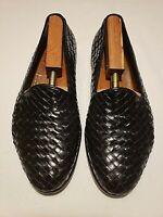 Salvatore Ferragamo Men's Leather Woven Black Loafers US Sz 10.5 Good Condition