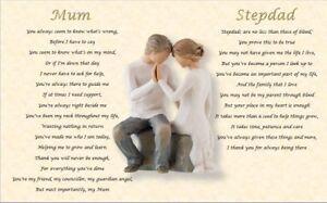 MUM and STEPDAD  GIFT- personalised (Laminated poem)