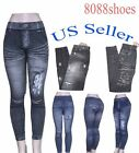 Women's Black Blue One Size Seamless Stretch Footless Leggings Thights NEW