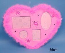 PINK PRINCESS FLUFFY BOA JEWELLED HEART SHAPED GIRLS PHOTO FRAME SHABBY CHIC