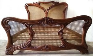 Mahogany and Rattan 5' King Size Art Nouveau Antique Wax Finish Bed New Louis