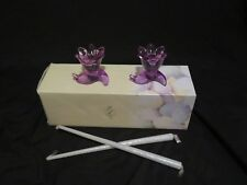 New Lenox Occasions Easter Floral Taper Candle Holder Set of 2 Purple Glass