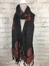 Black Orange Patterned Tassels Casual Scarf - Womens - One Size