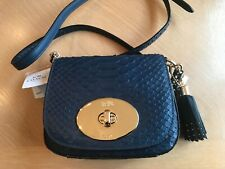 Coach Python Crossbody Shoulder Bag Embossed Leather Denim Blue Gold NEW