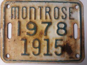 1978 Montrose Bicycle License Plate Tag Colorado