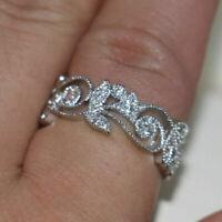 0.50 Ct Round Cut Diamond Vintage Wedding Band Ring 14k White Gold Finish