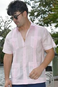 Guayabera Shirt for Men - Bohio Linen Chacavana Short Sleeve Mexican (8) Colors