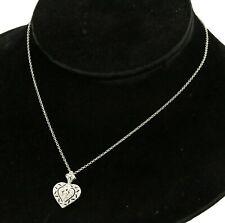 18K white gold lovely 0.29CT diamond filigree heart pendant necklace