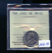 1922 Canada 5 Cents ICCS Certified MS62 DC480