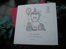 Personalised Handmade Birthday Card - Girl 1st 2nd 3rd 4th 5th - Unicorn