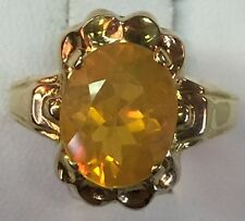Vintage Mexican Fire Opal 10K Solid Yellow Gold Ring Size 6 Otsby & Barton